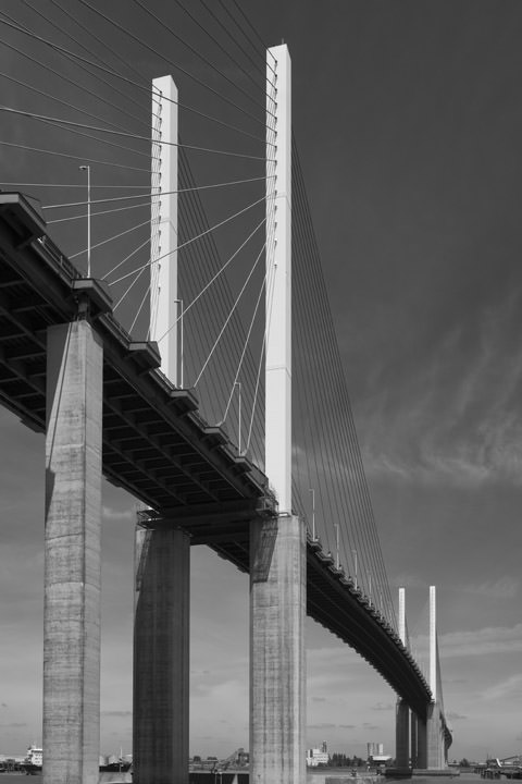 Vertical photograph of Queen Elizabeth II Bridge at Dartford.
