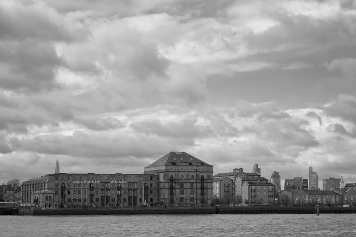 Columbia Wharf now Hilton Riverside at River Thames in Southwark in black and white