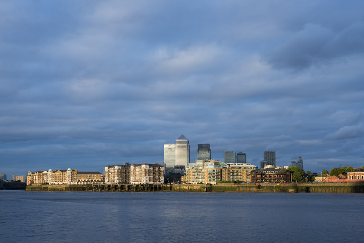 River Thames East London showing Rotherhithe and Isle of Dogs