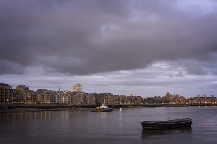 Picture of Wapping  with pink sky at dusk along River Thames