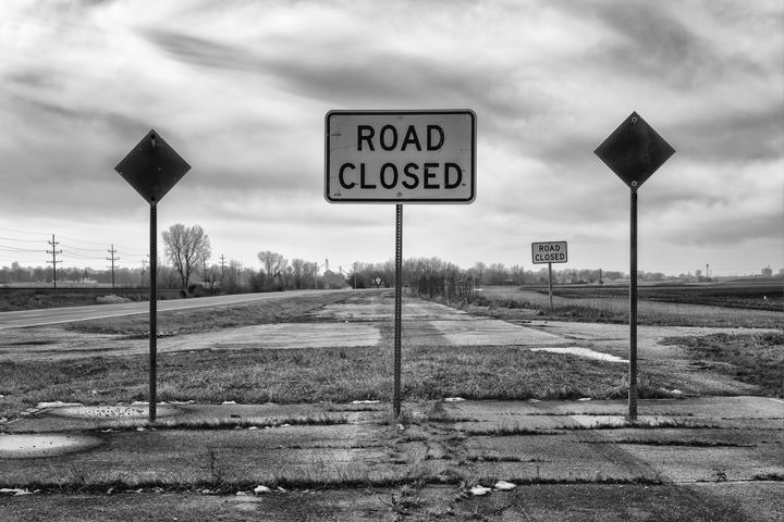 Road Closed Route 66 Odell - Illinois