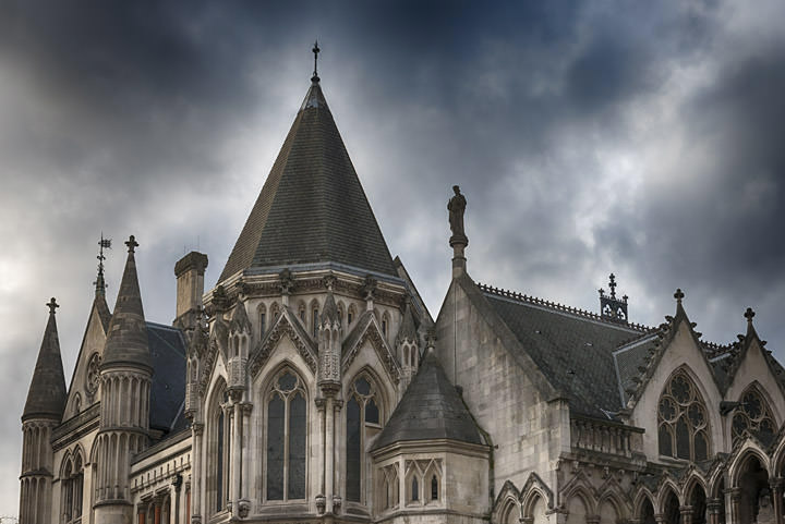 Royal Courts of Justice - storm clouds -London