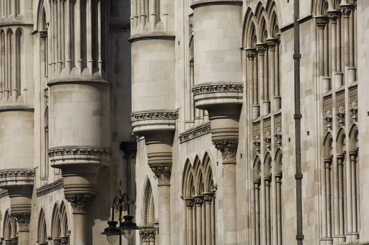 Architectural detail of the Royal Courts of Justice - The Strand - London