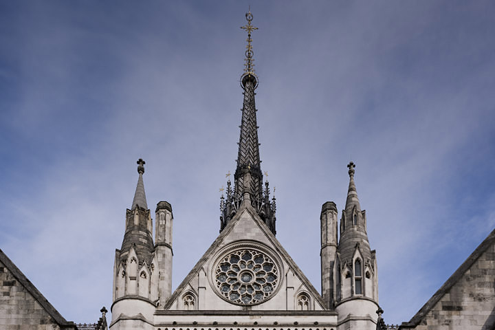 The Central Tower of the Royal Courts of Justice on the Stand, London