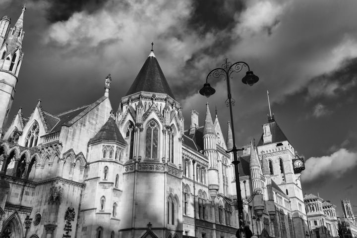 Black and white photo of Royal Courts of Justice - Fleet Street