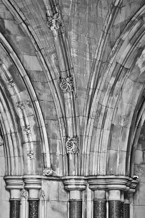 Royal Courts of Justice Detail  from the entrance in black and white