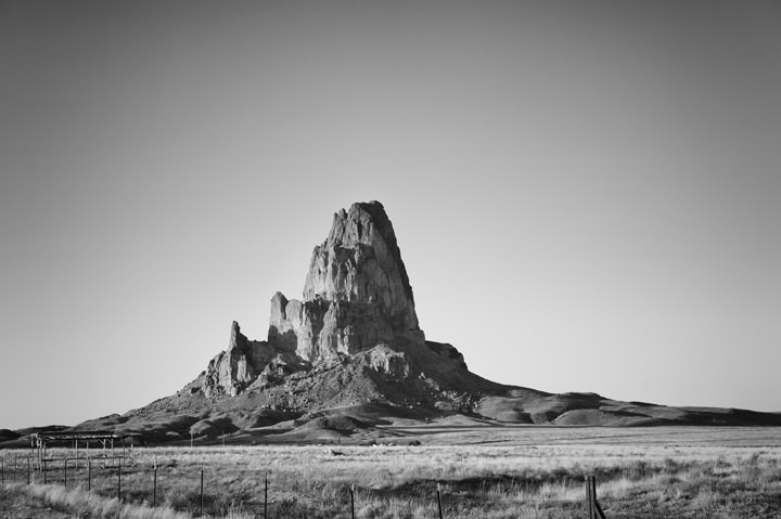 Rugged Peak  in Arizona in black and white.
