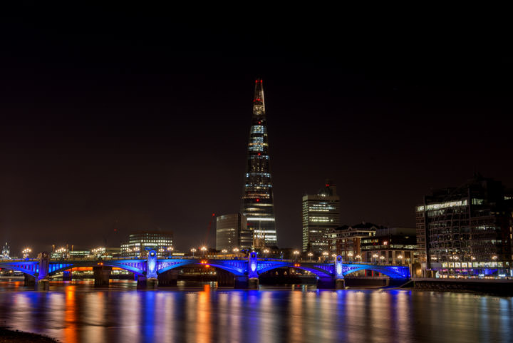 Shard and Southwark Bridge at night