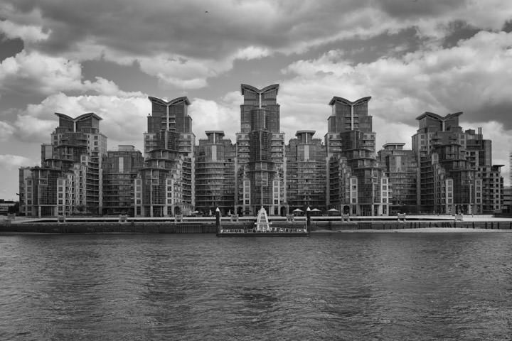 St Georges Wharf in black and white on a stormy day