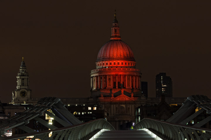 St Pauls Cathedral - Red Floodlights