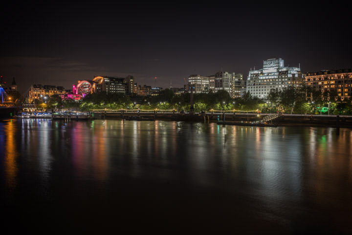 Victoria Embankment on the banks of the River Thames at night