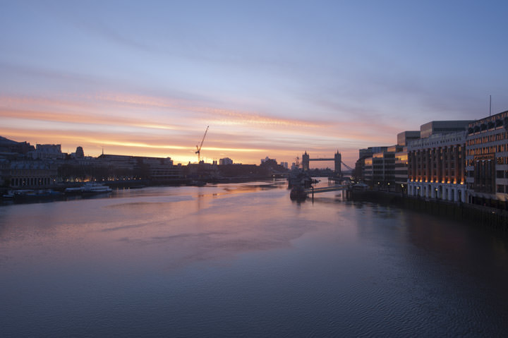 Photograph of Thames at dawn from London Bridge