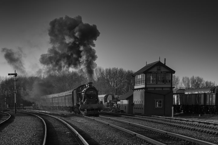 Black and White Photograph of Steam Train in Swithland England