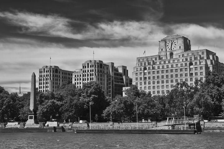 Shell Mex House and the Adelphi Building on the strand viewed from the River Thames