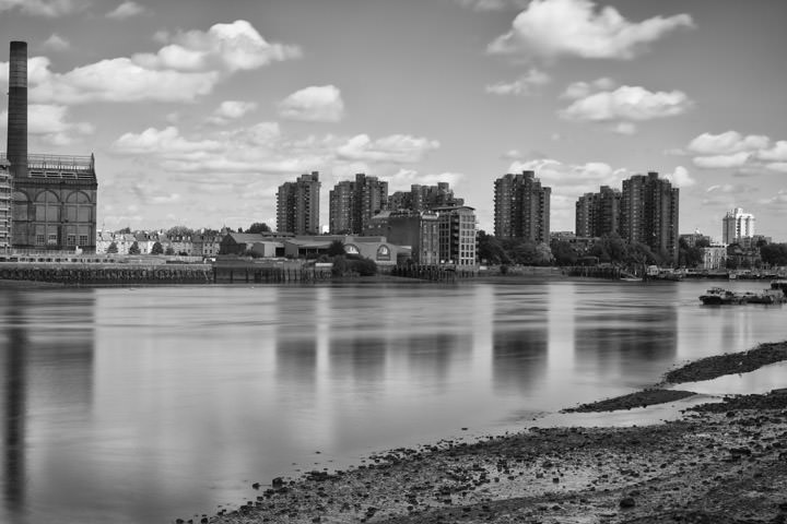 View from Battersea  showing Worlds End Estate in black and white