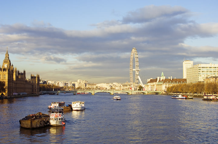 View from Lambeth Bridge including Houses of Parliament and London Eye