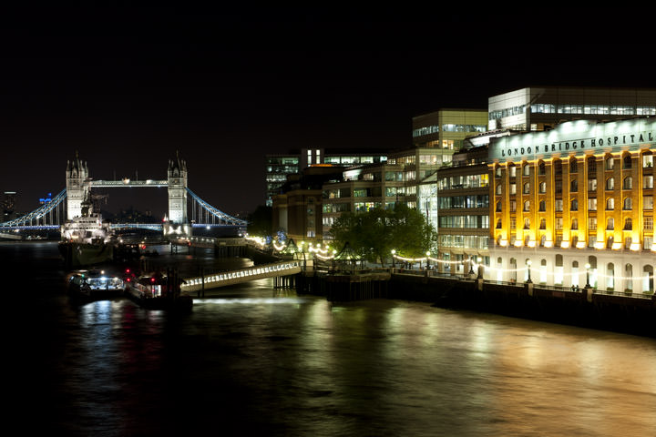 London Bridge Hospital and Tower Bridge viewed from London Bridge