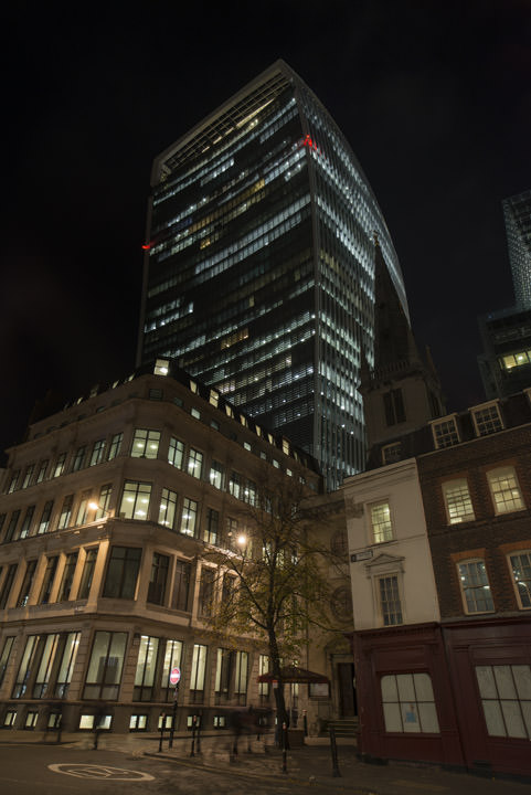 The Walkie Talkie Building at 20 Fenchurch Street at night.