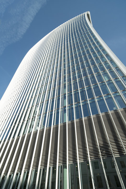 Walkie Talkie Building at 20 Fenchurch Street photographed from below.