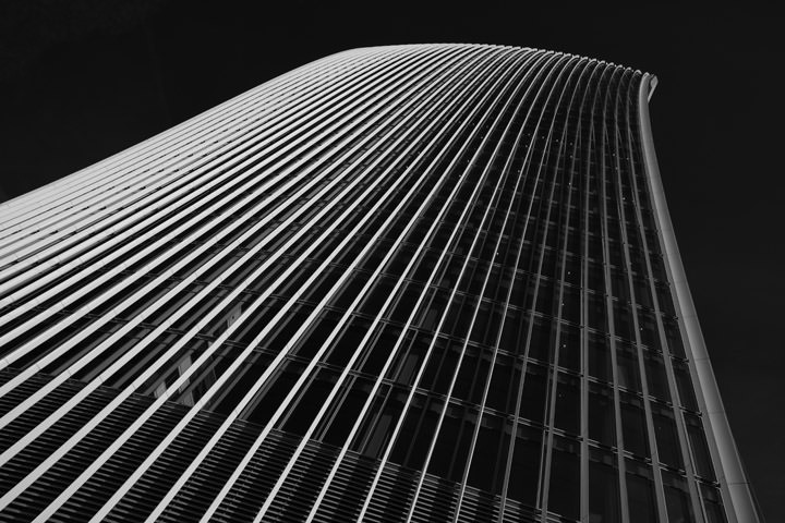 Black and White photograph of the top of the Walkie Talkie Building