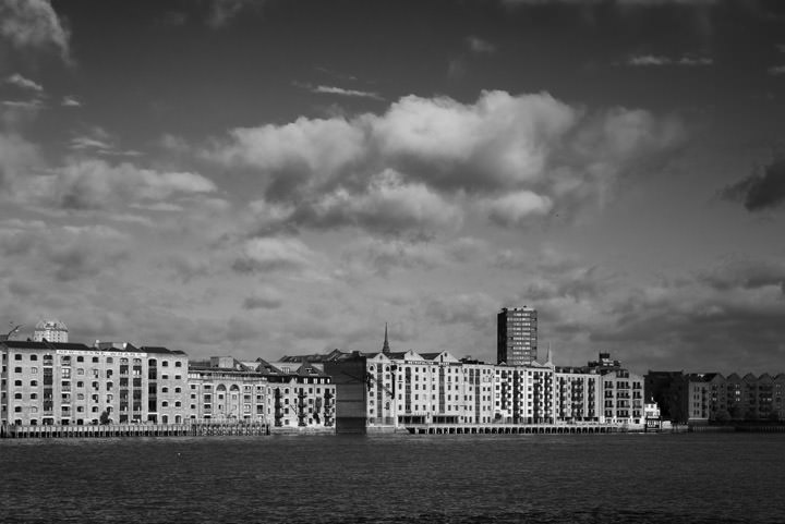 Black and white photo of Wappings historic wharves in Tower Hamlets