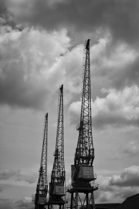 West India Dock Cranes on River Thames in Tower Hamlets