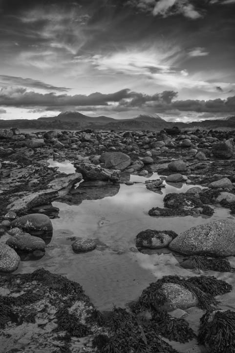 Black and white lakes and mountains in Wester Ross in Scotland.