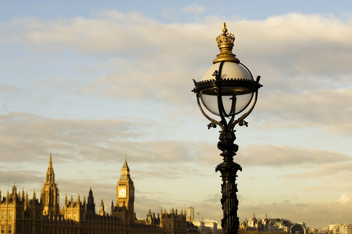 A victorian street lamp in front of the Houses of Parliament in Westminster