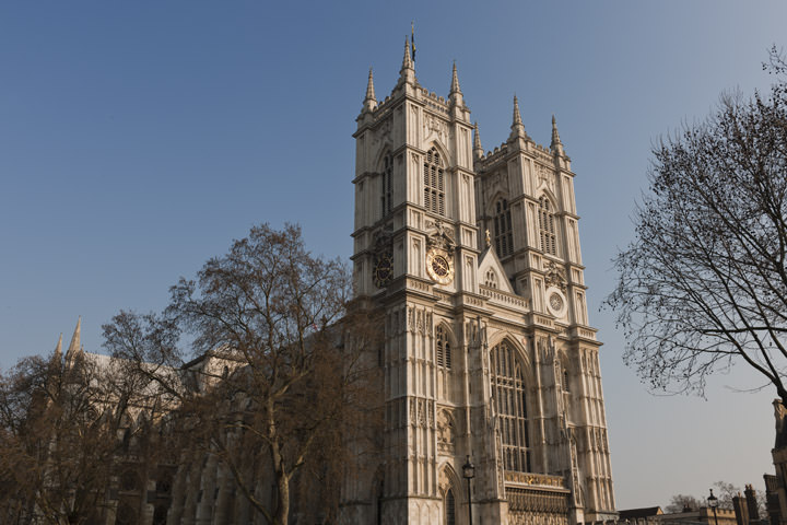 Westminster Abbey and bare winter trees