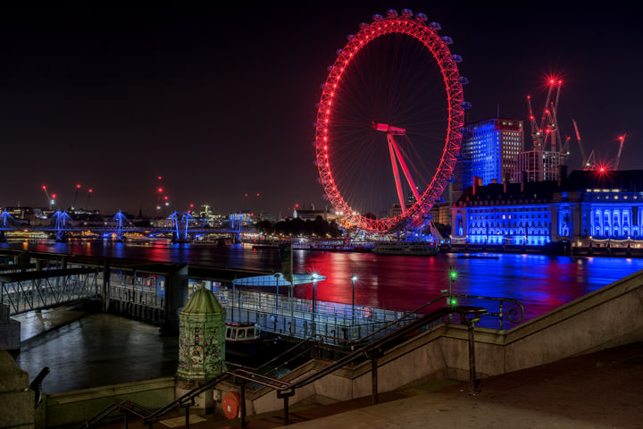 View from Westminster Pier with London Eye in background