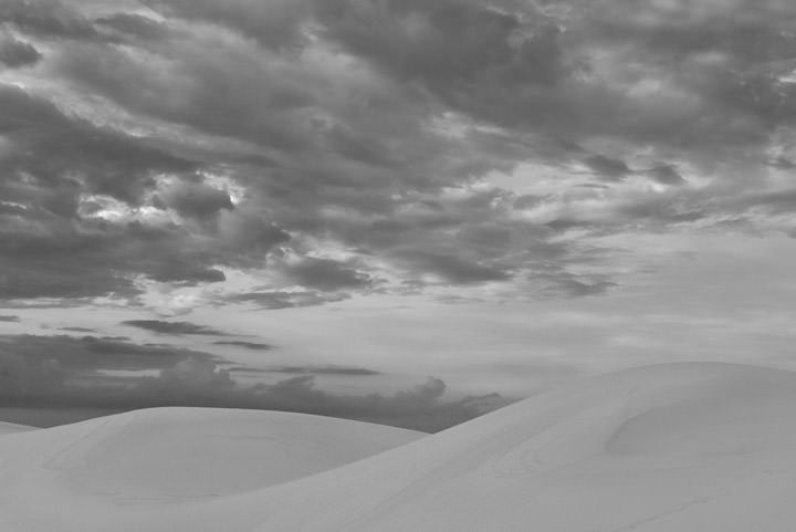 White Sand Dunes beneath a cloudy sky in New Mexico USA