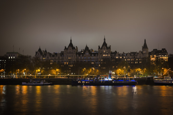Whitehall Court  on the River Thames in Westminster at night